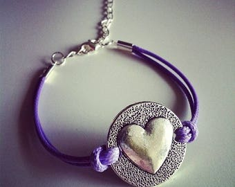 Purple cord with heart bracelet