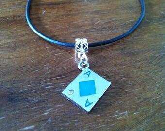 Necklace Poker card ACE of diamonds blue