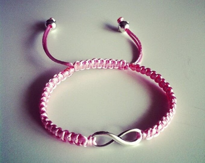 Adjustable Shamballa bracelet pink pale infinity sign