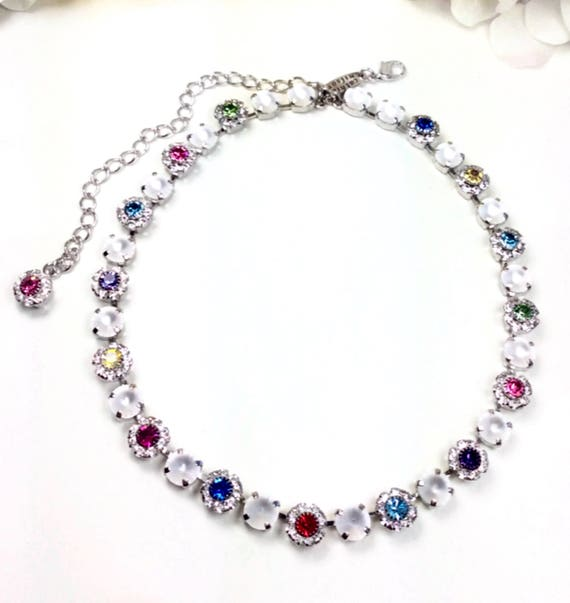 """Swarovski Crystal 8.5mm Necklace  """"Flower Garden Medley""""  Special One Of A Kind - Multi- Colored   -  Feminine Flowers -FREE SHIPPING"""
