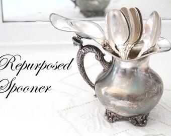 CREAMER, Vintage Silverplated Footed, Embossed & Ornate Creamer by Wallace, Repurposed Spooner or Floral Vase, Vintage Wedding Table Decor