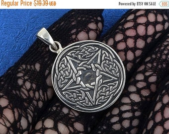 ON SALE Sterling Silver Pentagram Pendant Wiccan Pagan 5g, Free Shipping Worldwide!