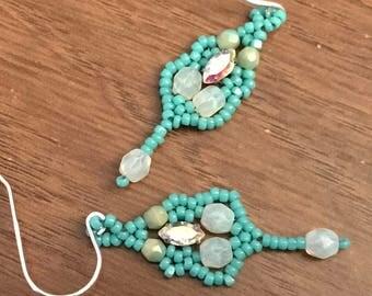 Teal Dangle Earrings Aqua Beaded Earrings Blue Beaded Earrings Aqua Beaded Dangles Seed Bead Earrings Beadwoven Earrings Aqua Drop Dangles