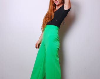 70s small green wide leg high waist pants trousers womens vintage clothing boho bright lime green polyester sailor slacks