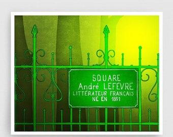30% OFF SALE: Paris Art Print - Square Andre Lefevre - Paris Print Illustration Home decor Nursery art Kids wall art Paris Poster Green Park