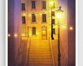 30% OFF SALE: Paris Art Print - Night walking (purple-yellow) - Paris Montmartre Illustration Print Parisian Home decor Nursery art Kids wal