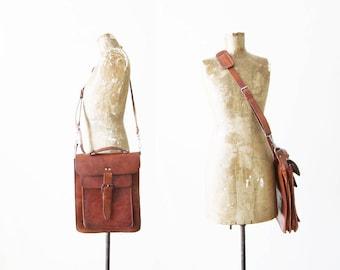 Leather Cross Body Bag / Vintage Leather Bag / Leather Satchel Bag / Brown Leather Purse / 60s Leather Purse / Square Leather Bag / Boho Bag