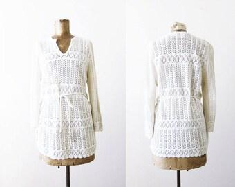 70s blouse / crochet blouse / vintage crochet top / white crochet knit shirt / 70s clothing / boho blouse / crochet tunic / lace blouse