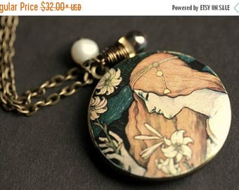 BACK to SCHOOL SALE L'ermitage Necklace. Renaissance Art Locket Necklace. Paul Berthon Necklace with Glass Teardrop and Pearl. Bronze Locket