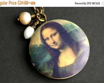 BACK to SCHOOL SALE Mona Lisa Locket Necklace. Mona Lisa Necklace. Leonardo da Vinci Italian Renaissance Necklace with White Coral Teardrop