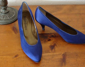 Vintage Womens YVES SAINT LAURENT  Electric Blue Fabric High Heel Shoes, 9 M Made in Italy