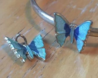 Turquoise and Blue Enamel Butterfly Gold Tone Child's Pendant and Bracelet Set