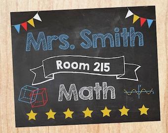 Math Teacher Door Sign. PRINTABLE. Teacher math name room number sign. math teacher Classroom Decor Decorations. Back to School poster