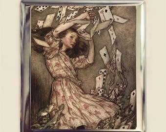Alice in Wonderland Cigarette Case Business Card ID Holder Wallet Playing Cards Arthur Rackham Vintage Illustration Lewis Carroll