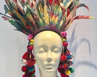 Pom pom headdress- Feather Headpiece -Tribal Headdress- Music Festival- Burner Head piece- Pride- Rainbow Headpiece- Headdress NY.