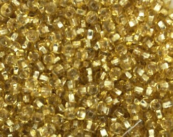Czech Glass Seed Beads - Gold, Gold Lined Luster, 25g, 11/0
