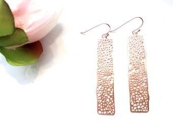 ROSE GOLD BAR Earrings, Net Gold Bar Chandelier Earrings , Drop earrings, Dangle, Minimal, Girlfriend Sister Wife Gift for Her, Mother Gift