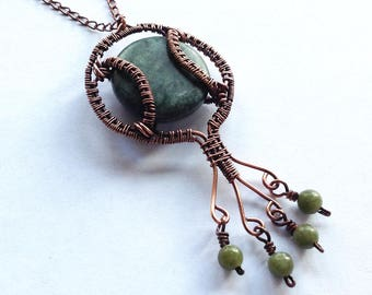 Copper Wire Wrapped Pendant with Jade and Jade Jasper
