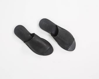 Black Leather Slides - women slides