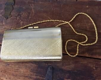 Vintage Golden metal case clutch purse