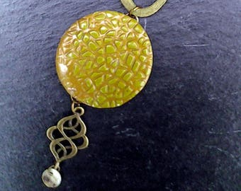 Collection of bronze polymer clay short necklace