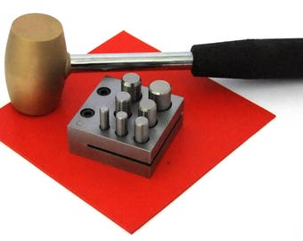 """7 Punch Disc Cutter Kit With Hammer And Urethane Pad 1/4"""" To 5/8"""""""
