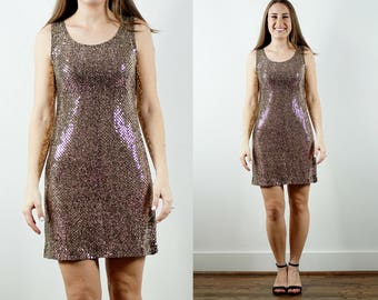 1990s Gold Sequin Dress