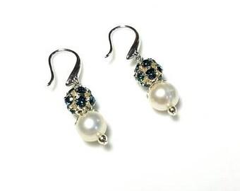 white freshwater pearl dark blue rhinestone earrings hypoallergenic earrings nickel free earrings dangle beaded drop jewelry gifts for her