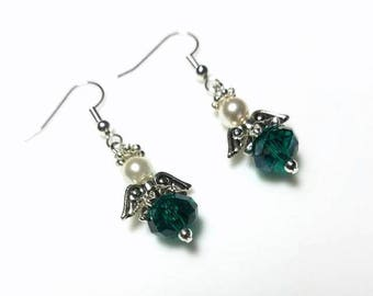 Teal Crystal Guardian Angel Earrings with Swarovski Pearls Hypoallergenic Earrings Nickel Free Earrings Dangle Drop Beaded Earrings