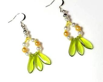 Lime Green Dagger Bead Yellow White Pearl Hoop Earrings Hypoallergenic Nickel Free Earrings Long Dangle Beaded Jewelry Seed Beads Earrings
