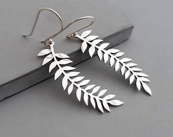 ON SALE Botanical Earrings - Gold Long Dangle Earrings - Gold Leaf Earrings - Botanical Jewelry - Long Earrings – Silver Leaf Earrings