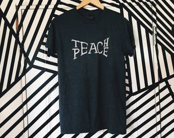 Teach Peace Tee, Teacher Shirt, VintageChameleon, Peace Shirt
