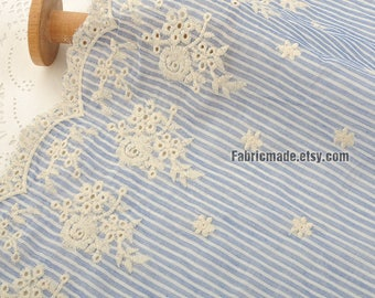 Stripe Fabric, Cotton Fabric, Blue Stripe Fabric, Flower Border Embroidery Fabric Cotton, Border Embroidery Cotton -1/2 yard