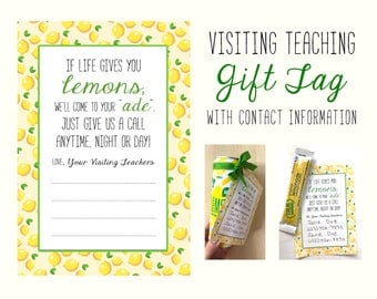 Visiting Teaching Gift Tag With Space for Contact Information - New Visiting Teachers - LDS Printable