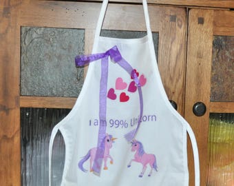 Personalized Kids Apron, White Apron With Unicorns, I Am 99% Unicorn Apron, Childs Apron, Unicorn Apron