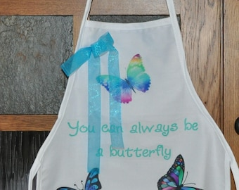 Personalized Kids Apron, White Apron With Butterflies, You can always be a butterfly, Childs Apron, Butterfly Apron