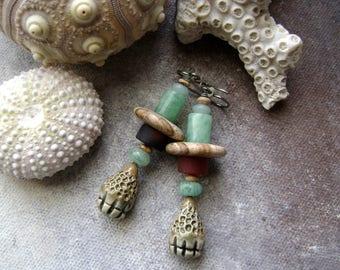 Stone Pods, assemblage earrings, mixed media jewelry, ceramic pods, primitive rustic, carnelian, amazonite, landscape jasper, AnvilArtifacts