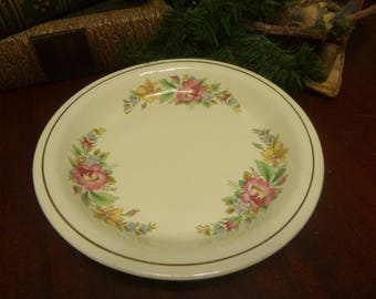 Homer Laughlin Kitchen Kraft Oven Serve Pie Plate, Spring Wreath Pattern    (T)
