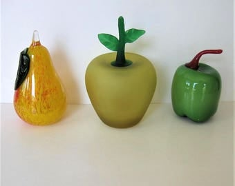 3 Vintage Glass Fruits and Vegetable, Green Pepper, yellow pear, green apple, Murano style, Collectible Glass, paperweight,  gift idea