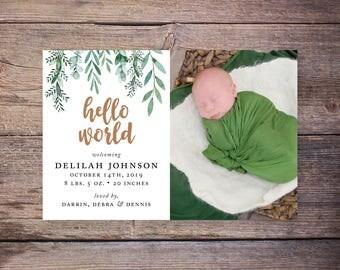 Greenery Birth Announcements, Baby Girl Birth Announcement, Garden, New Baby Invite,  Printable, Custom Photo Card –Sadie