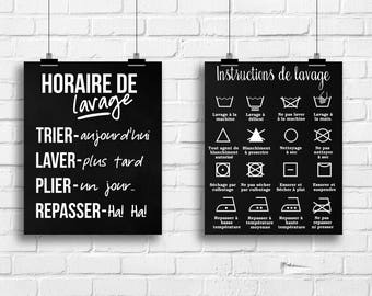 Horaire de Lavage Imprimé, Décoration Salle de Lavage, Instructions de Lavage, Horaire de Lavage, Décor Maison, Cadeau pour Maman, A-2042