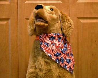 4th of July Dog Bandana Large Red White Blue  Stars And Stripes