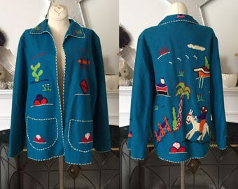 40s Turquoise Wool Embroidered Mexican Tourist Jacket