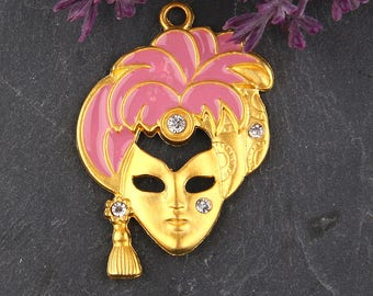 Pink, Enamel Mask Pendant with Rhinestone Crystal Bead Embellishment, Mask Pendant, Mask Jewelry, 1 piece // GP-503