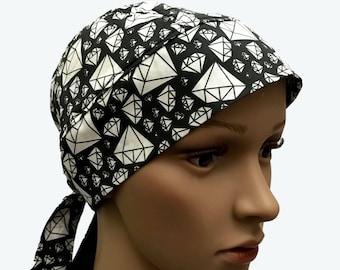 Biker Dorag  - Diamonds on Black skully - Bejeweled  - personalized do rag Unisex Do Rag