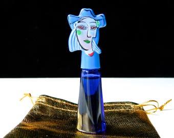 Chat jaune peinture bleu etsy - Bleu vintage peinture ...