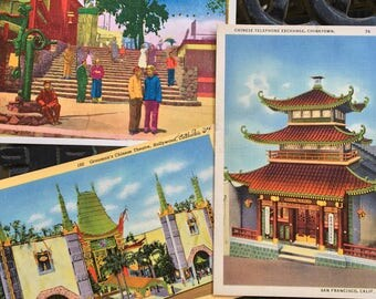 Vintage Postcards, Chinatown Souvenir Postcards, San Francisco, LA, Hollywood, Collection of Three