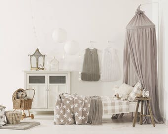 Sand Taupe Brown Beige Baldachin Bed Canopy 230cm