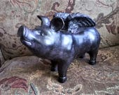 RESERVED FOR BM  Flying Pig, Flying Pig Garden Statue, Cincinnati Pig, When Pigs Fly, Flying Pig Decor, Ceramic Flying Pig, Black Pig