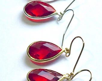 Ruby glass earrings - red earrings, ruby red faceted glass earrings, glass teardrop earrings, glass sparkle earrings